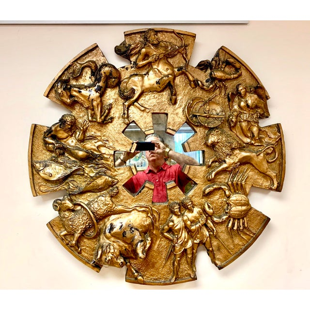 1970s Brutalist Round Gold Relief Zodiac Sign Mirror For Sale - Image 10 of 10