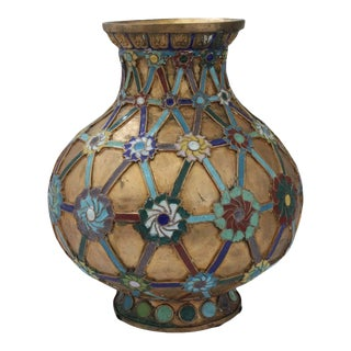 Antique 1920s Chinese Cloisonné Vase in Brass With Crossbanding and Floral Medallions For Sale