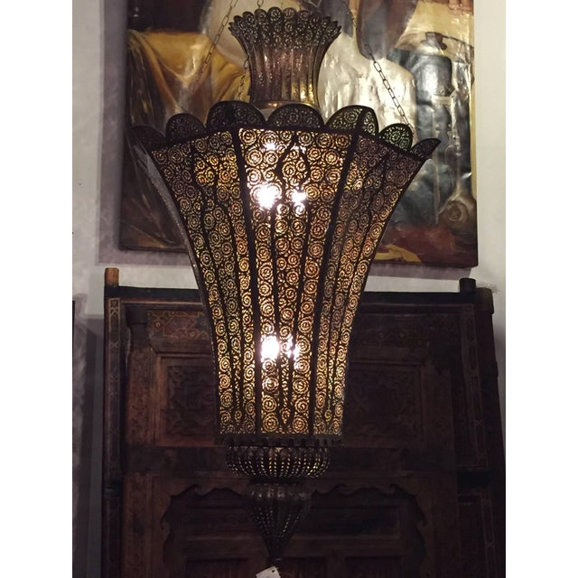 Oversized Moroccan Moorish Brass Chandelier For Sale - Image 9 of 10