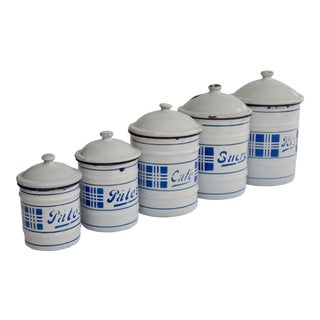 Antique French Style Enamel Kitchen Canisters, Set of 5 For Sale