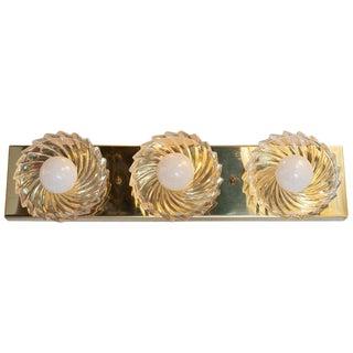Mid-Century Modern Brass & Glass Pinwheel Three Bulb Vanity Light by Lightolier For Sale