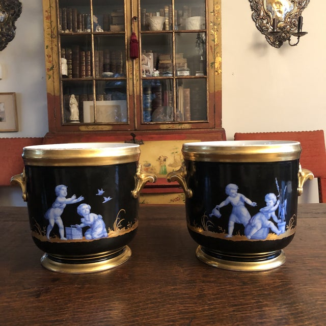 Antique French Gilt Soft Paste Two Handled Seaux a Bouteille or Wine Buckets - a Pair For Sale - Image 13 of 13