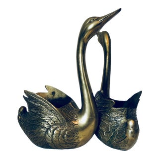 Brass Swans Planters-A Pair For Sale