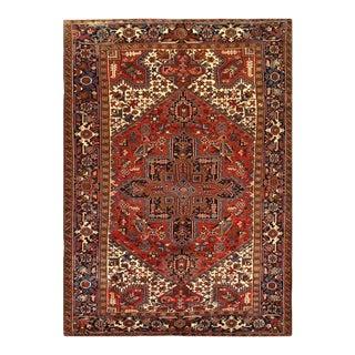1960s Pasargad Rust Antique Persian Heriz Serapi Rug 7' X 10' For Sale