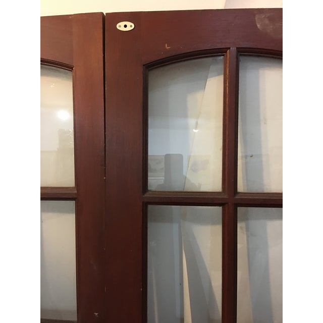 English Glass Doors With Brass Hardware - A Pair For Sale - Image 5 of 7