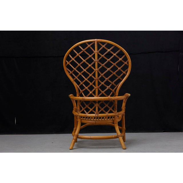 Metal Hollywood Regency High Back Fan Style Rattan Armchair For Sale - Image 7 of 12