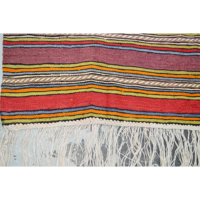"Shabby Chic Vintage Turkish Anatolian Hand Made Organic Wool Dowry Kilim,5'x9'1"" For Sale - Image 3 of 4"