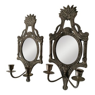 Mirrored Candle Wall Sconces - a Pair For Sale