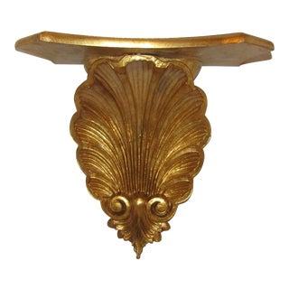 Gold Carved Wood Shell Design Wall Sconce Shelf For Sale