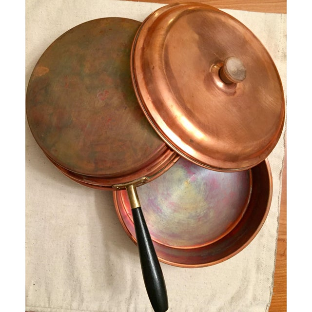 Gold Vintage Tagus Portugal Copper 5 Piece Chafing Set For Sale - Image 8 of 11
