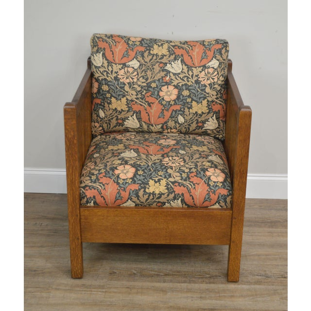 Mission Stickley Mission Collection Oak Spindle Cube Chair For Sale - Image 3 of 13