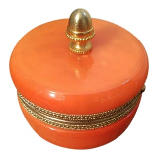 1940s Orange Opaline Trinket Box with Brass Finial For Sale