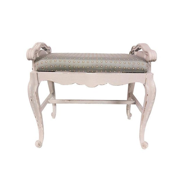 French French Carved Upholstered Vanity Bench For Sale - Image 3 of 6