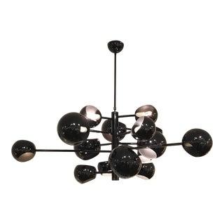 Mid-Century Modern Style Black Chandelier After Stilnovo For Sale