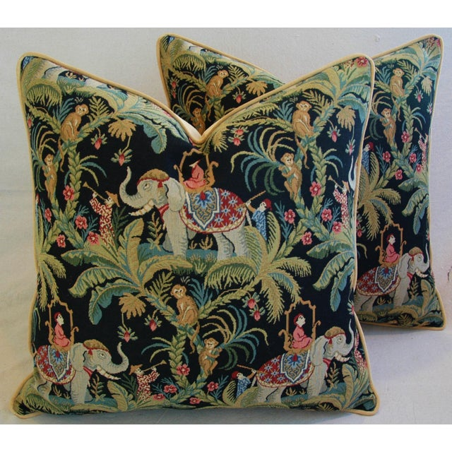Custom English Tapestry Jungle Paradise Pillows - a Pair - Image 2 of 10