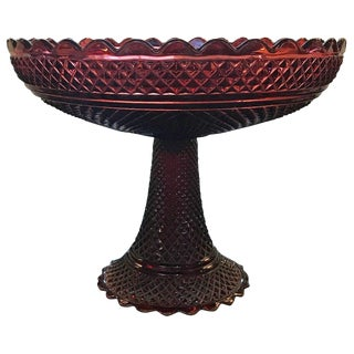 Baccarat Cranberry Glass Pedestal Centre Bowl