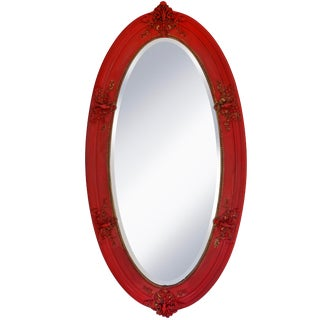 1900s Vintage Red Oval Mirror For Sale