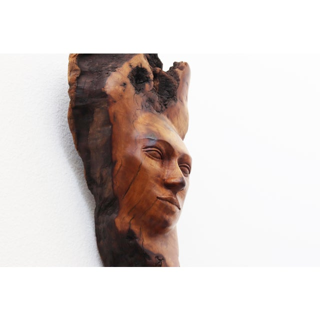 Vintage Figurative Burl Wood Face Sculpture by Peggy Brundall For Sale - Image 4 of 7