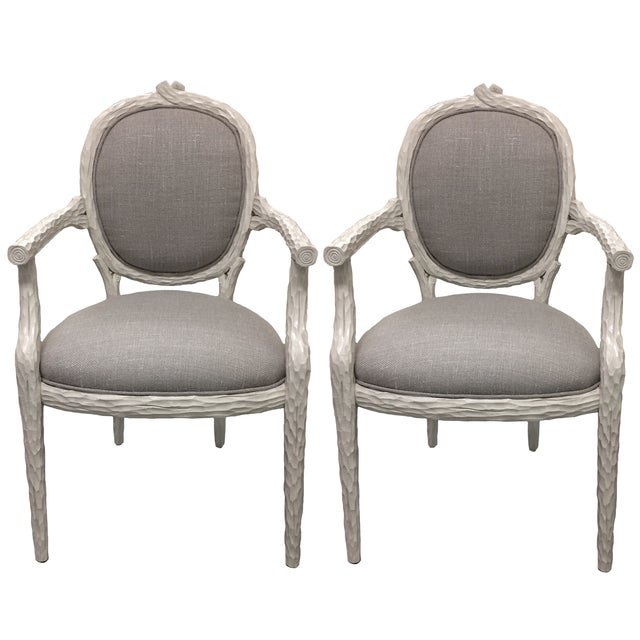 White Faux-Bois Armchairs - A Pair - Image 1 of 5