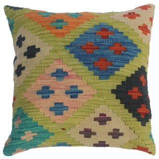 """Colin Lime Green/Blue Hand-Woven Kilim Throw Pillow(18""""x18"""") For Sale"""