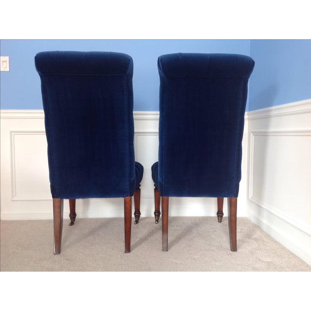 Barclay Butera Velvet Tufted Dining Chairs - Pair - Image 5 of 8
