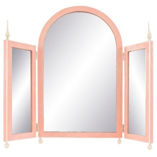 French Art Deco Style Triptych Pink Shagreen Dressing Table Mirror For Sale
