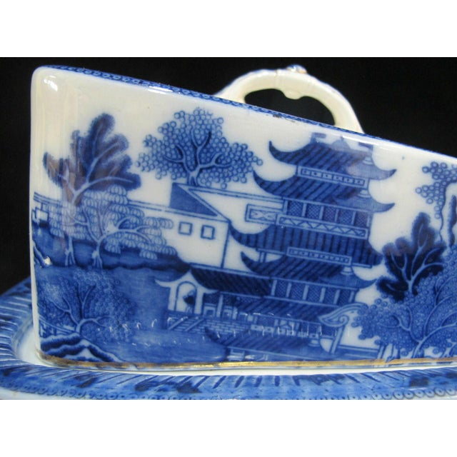 Antique Broseley Chinese Flow Blue & White Pattern Serving Dish With Lid For Sale In Portland, OR - Image 6 of 11