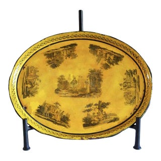 Early 19th Century Yellow Tole Tray For Sale