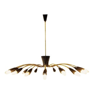 Elegant 1960s Italian Chandelier in Brass and Black Lacquer For Sale