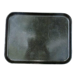 French Napoleon III Black Papier Mache Serving Tray For Sale