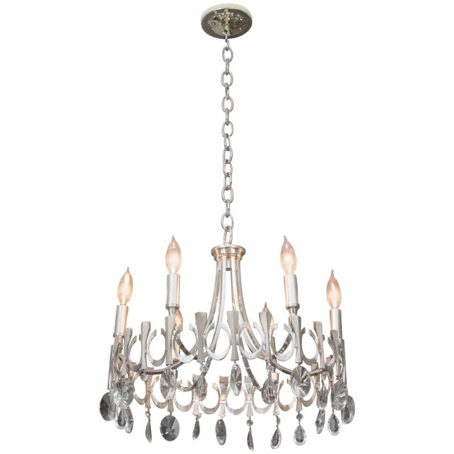 Silverplate Six-Light Chandelier Attributed to Sciolari For Sale - Image 9 of 9