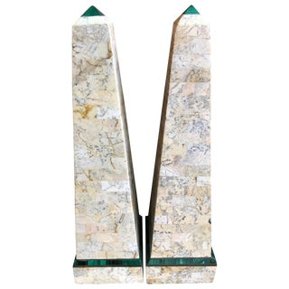 Maitland Smith Tessellated Stone Obelisks-a Pair For Sale
