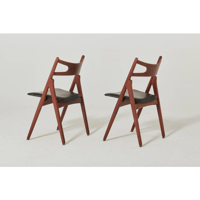 Brown Set of Six Hans Wegner Ch-29 Sawbuck Dining Chairs, Carl Hansen, Denmark For Sale - Image 8 of 13