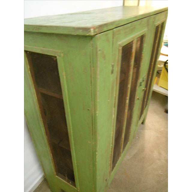 Antique Primitive Rustic Green Pie Safe Chest For Sale In Chicago - Image 6 of 9