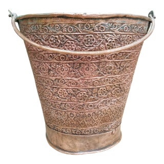 19th Century Embossed Copper Milk Pail From Pakistan For Sale