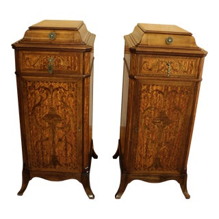 1920s Silverware Lingerie Multi Drawer Marquetry Chests - a Pair For Sale