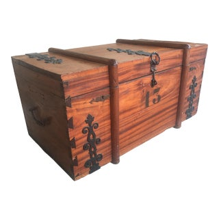 Rustic Antique Trunk With Metal Accents For Sale
