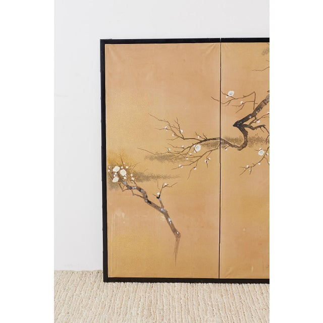 Asian Japanese Four-Panel Screen Prunus Tree With Nandina For Sale - Image 3 of 13