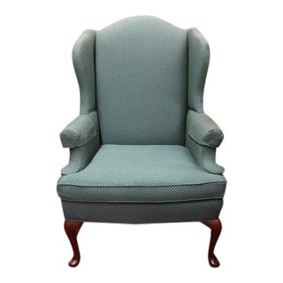 Sherrill Green Wingback Chair For Sale