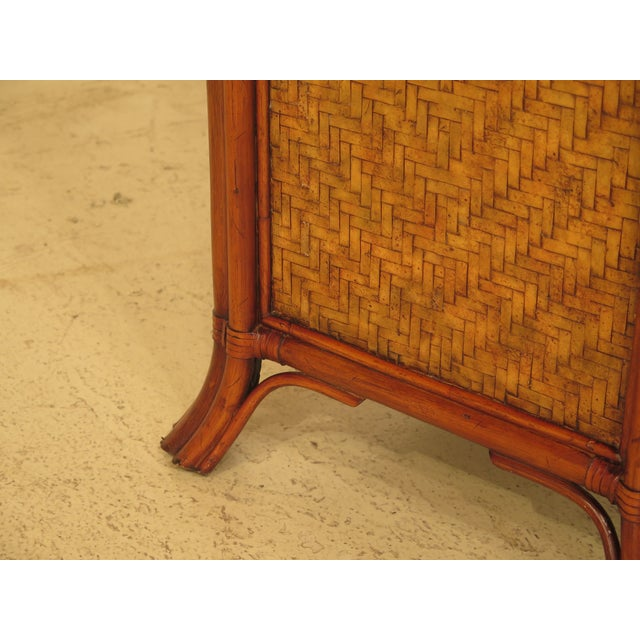 Maitland-Smith Bow Front Woven Leather Chest For Sale - Image 5 of 11