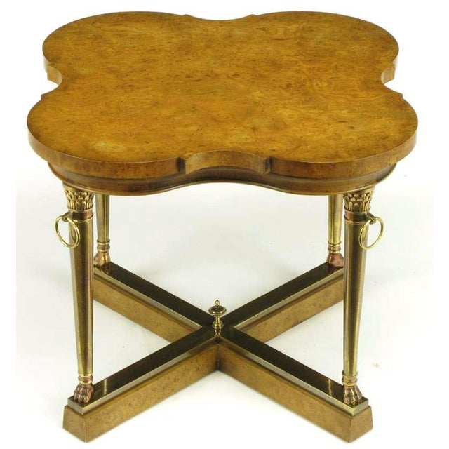 Empire Mastercraft Empire Style Bronze and Burl Quatrefoil End Table For Sale - Image 3 of 10