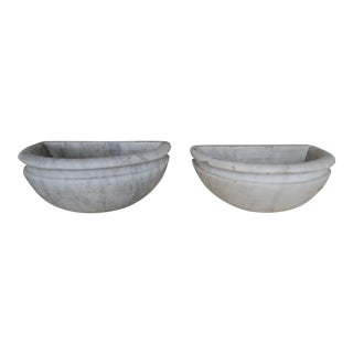 Italian Marble Planters/Containers - A Pair For Sale
