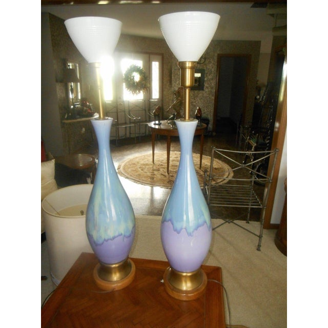 Mid Century Modern Volcano Drip Table Lamps - Pair - Image 2 of 9