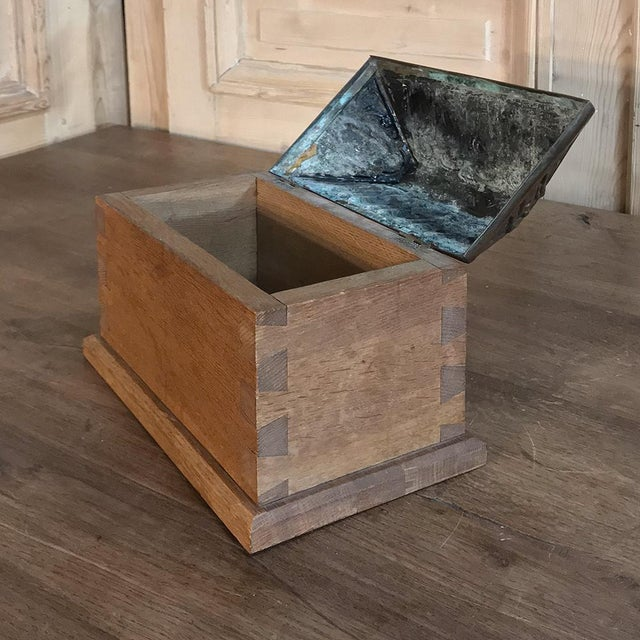 Bronze 19th Century Dovetailed Wood Box With Pyrimidal Cast Bronze Lid For Sale - Image 7 of 11