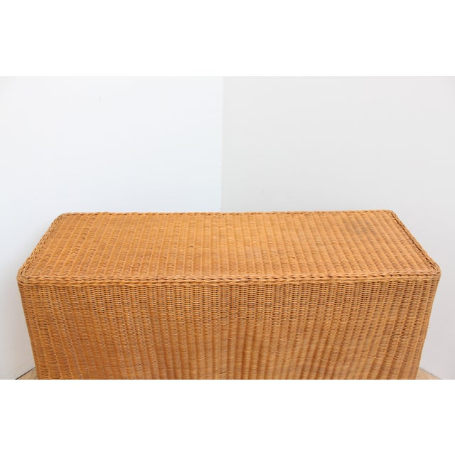 1980s Vintage Trompe l'Oeil Wicker Draped Console Table For Sale - Image 5 of 11