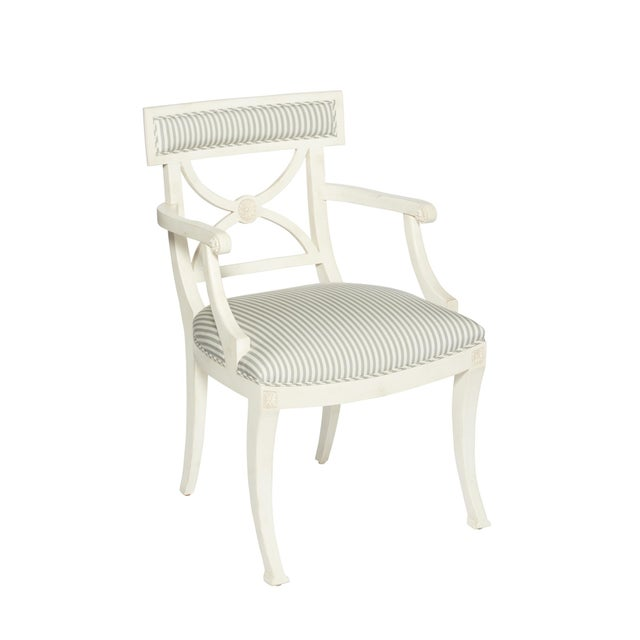 Early 21st Century Schumacher Westminster Brigitte Stripe Grey Hand-Carved Beechwood Frame Armchair For Sale - Image 5 of 9