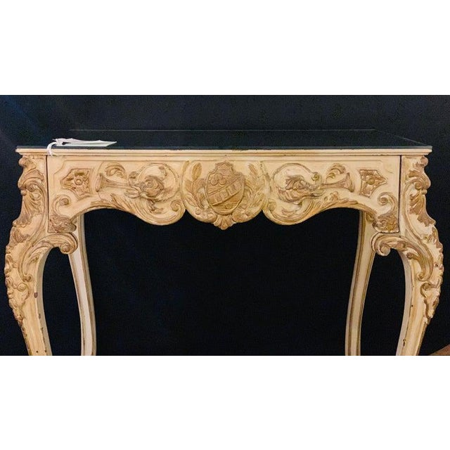 1900 - 1909 Finely Carved White and Parcel-Gilt Decorated Vanity / Desk by Jansen For Sale - Image 5 of 13