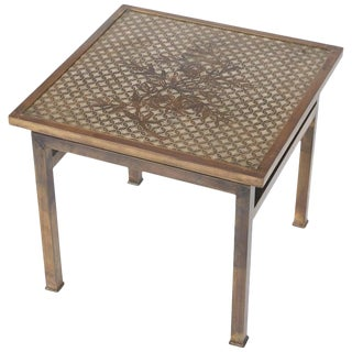 1960s Mid-Century Modern Philip and Kelvin LaVerne Bronze Kuan Su Side Table For Sale