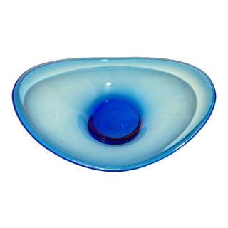 Vintage Scandinavian Flygsfors Coquille Blue Glass Dish For Sale