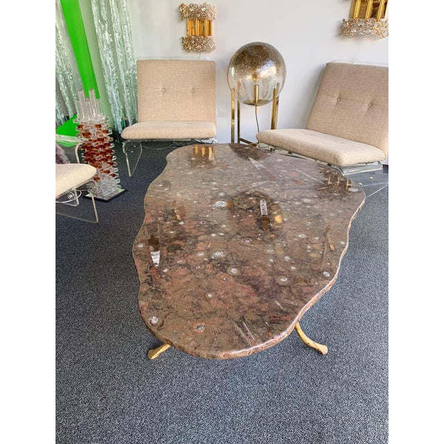 Coffee Table Gilt Iron Fossil Stone Top by Pinguaud, France, 1980s For Sale - Image 12 of 13